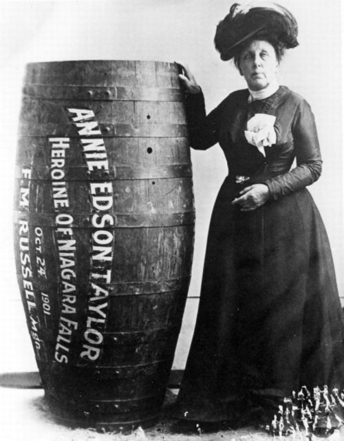 Photograph of Annie Edson Taylor, the first person who'd survived a trip over Niagara Falls in a barrel on 24 October 1901