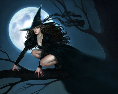 light fantasy witch black autumn halloween moon fantasy art drawings full moon pale skin black hair_www.wall321.com_38
