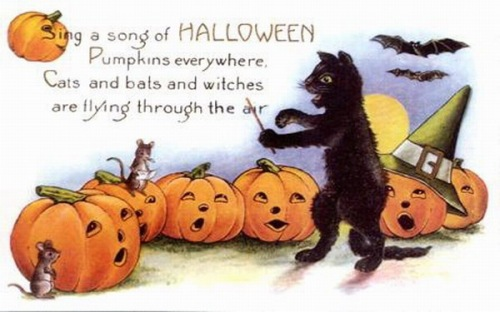 vintage-halloween-black-cat-singing-pumpkins-mice-postcard_zps0f54f0e2