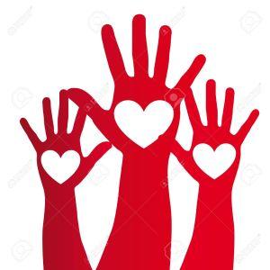 11618415-heart-over-red-hand-over-white-background-vector-illustration