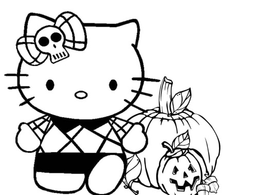 coloriage-hello-kitty-halloween